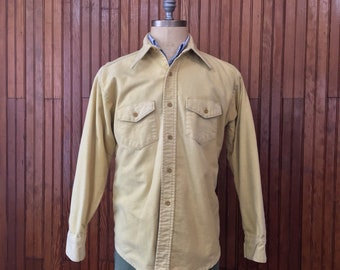 Vintage Frostproof Sanforized Flannel Chamois Work Shirt Men's XL Yellow