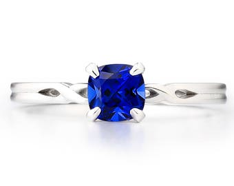 The New York Ring - Lab Grown Sapphire 14K White Gold