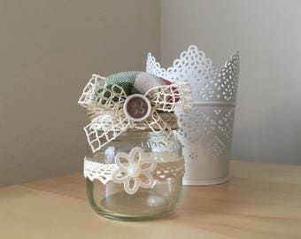Jar with Pincushion-Small jar with pincushions
