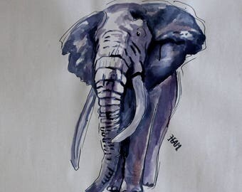 Elephant drawing ink painting on paper
