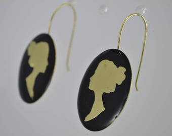 Cameo handmade earrings  style of brass colored with black cold enamel