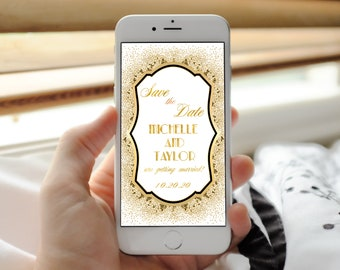 Digital invitation, email invitation, electronic invite, Gatsby save the date, 1920s save the date, gold save the date, retro save the date