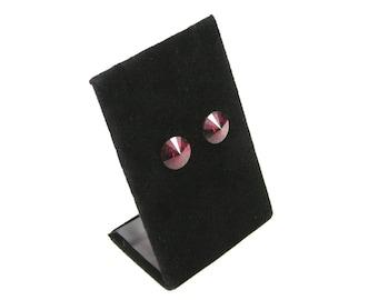 Deep Scarlet Round cut gold metal backing earrings