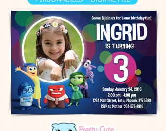 Inside Out invitation with photo, Inside Out invitation, Inside Out Birthday invitation, Inside Out Birthday Card, 5x7 inches invite