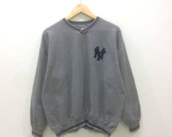 Vintage Major League Baseball NY Sweatshirt Jumper Pullover Grey Colour