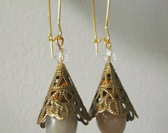 Stone cone earrings