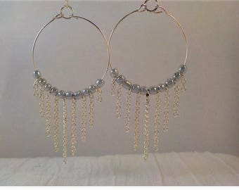 Hoop with silver chain dangle