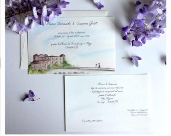 Handmade participations-Invitation to Castle newlyweds-watercolor/watercolor-Romantic sunset handmade