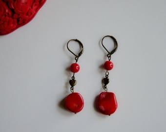 Red coral earrings, dangle earrings, drop earrings, antique brass