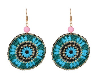 Floral Blue and Gold Cloth Earrings