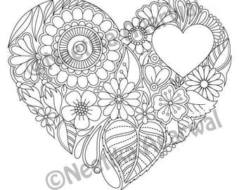 Floral Heart Valentine Adult Coloring Page Valentine Day