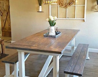 Classic Farmhouse table with 2 benches (seats 8)