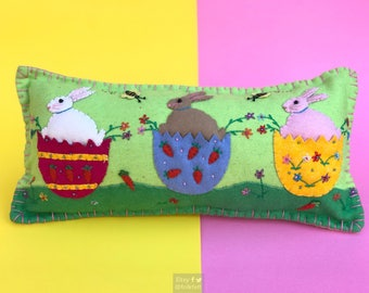 bunny in egg decorative pillow / home decoration / rabbit decoration / easter decor / easter primitive decoration / primitive pillow