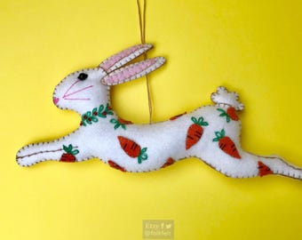 "8"" hand stitched ester bunny with carrot felted rabbit bunny felt decoration / felt hanging ornament chic felt / easter primitive decoration"