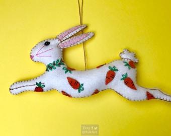 "8"" hand stitched ester bunny with carrot felted rabbit bunny felt decoration / felt hanging ornament chic felt / easter primitive decoration"