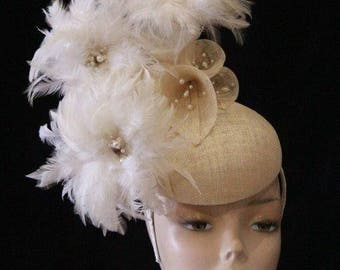 Stand out Cream Feather Fascinator - One of a Kind