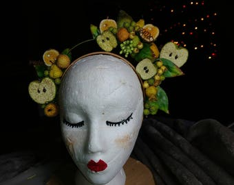 Fruit embellished fasinator/ headband. Made from vintage glass beaded fruit.