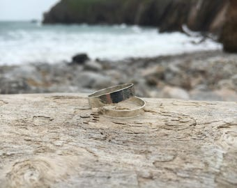 Sterling Silver hammered effect stacking rings.