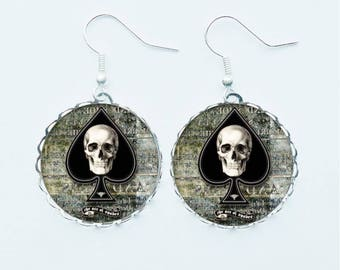 Death Skull & Ace Of Spades Jewellery - Pendant Necklace Earrings Ring or Pin Badge Chilling Macabre Spooky Gothic Horror Skeleton