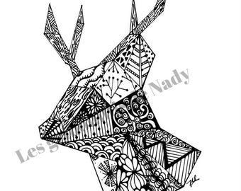 Mandala Cerf à colorier et à imprimer vous-même - mandala - cerf -zentangle - inspriration origami - détente - coloriage - anti-stress