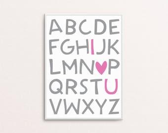 8 x10 ABC I LOVE U Nursery Printable Art Instant Download Digital Print