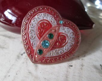 Large GLASS Button*Heart-Shaped and Jewelled*  How Romantic!