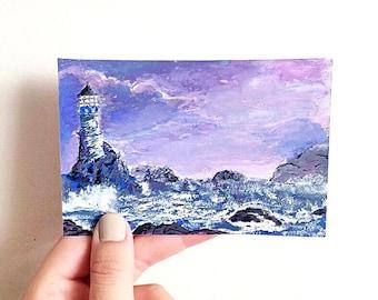 Lighthouse Painting Original
