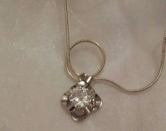 Silver plated necklace with a clear crystal