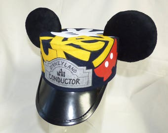 Custom Hand Painted Mickey or Minnie Mouse Ears Conductor Hat