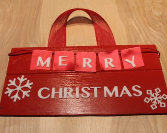 Merry Christmas door hanger/sign with plaid ribbon