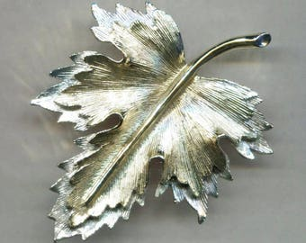 SARAH COVENTRY Large Gold & Silver Tones Leaf Pin
