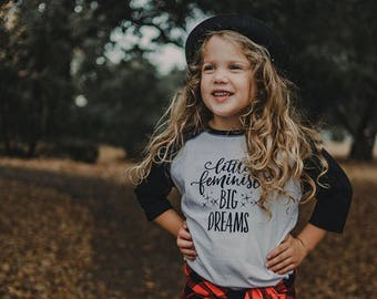 Future Activist Shirt, Little Feminist Big Dreams, Kids Feminist Shirt, Women's Rights, Protest Shirt, Baseball Shirt, Feminism, Dreamer