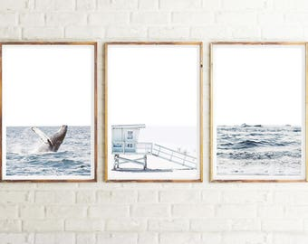 Set Of 3 Prints, Coastal Wall Art Prints, Blue Modern Triptych, Instant Download Printable Art, Beach Photography, Beach Decor, Ocean Print