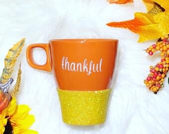 GLITTER DIPPED | Thankful Mug