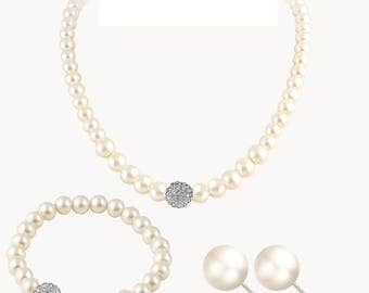Bridal Pearl Earrings Necklace and Bracelet Set