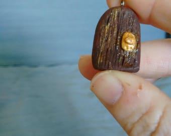 Teeny Tiny Hand Made Clay Fairy Door Pendant
