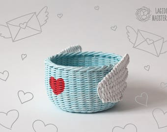 Blue nursery storage bowl with wings Basket for storage Kawaii box Cute wicker bowl Cartoon home decor Wicker bin Light blue basket