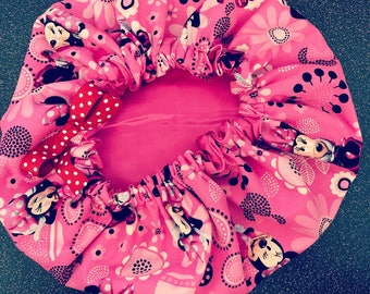 Infant/Child/toddler size custom Minnie Mouse Pink Satin Bonnet