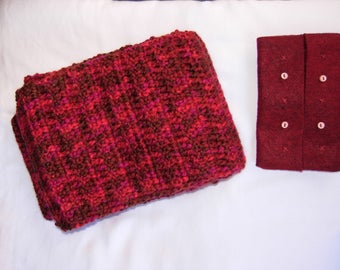 Variegated Red Yarn Handmade Knitted Crocheted Scarf and Red Felt Portable Tissue Pouch, luxurious, elegant, gift