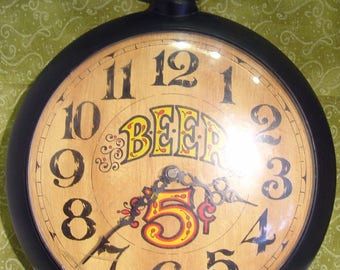 Vintage Mid Century 1960s Spartus 5 Cent BEER Man Cave Bar Pocket Watch Wall Clock Model: H 6560.