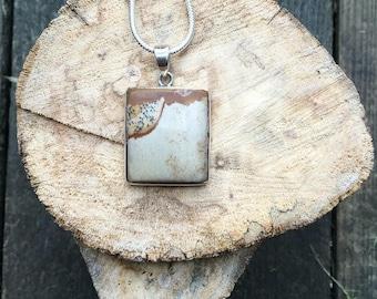Jasper 925 Silver Pendant Necklace