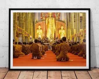 Praying Monks Photo // Thailand Print, Buddhist Decor, Asia Home Decor, Asian Wall Art, Buddhist Temple, Buddhism Religion, Chiang Mai