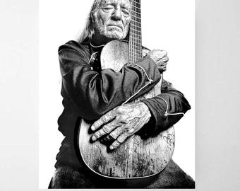 Willie Nelson Poster- Willie Nelson Print- Willie Nelson Photo Gift