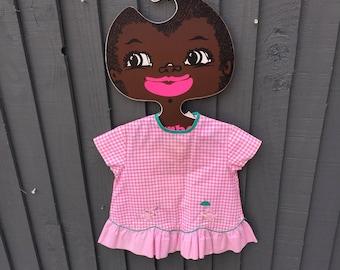 Adorable pink gingham duckling dress, baby vintage 6 - 9 months, embroidered duckling details and frill hem
