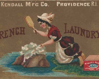Victorian Trade Card-FRENCH LAUNDRY-KENDALL-Soaps and Soapine-1880's