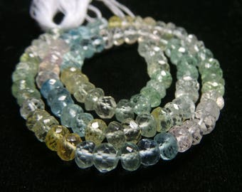 Multi Aquamarine Faceted  Beads,Size- 5x5 MM,Natural  Multi Aquamarine  ,Beads, AAA Quality, Beads,Natural Gemstone,13 INCH