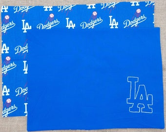 2 LA Dodger Placemats - Reversible - Cotton - Baseball - Los Angeles - MLB - Dodgers - Sports team - Fan - LA - placemat - dinner - gift