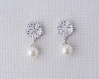 Pearl Fleur Earrings, Cubic Zirconia Pearl Dangle Earrings, Bridal Pearl Earrings, Wedding Accessories, Bridal Jewellery, Pearl Jewelry