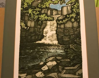 Original etching of a waterfall - High Force