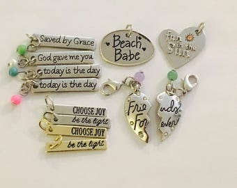 ADD-on personalized message charms added on keychains